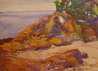 Watercolor by Beatrice Whitney Van Ness: Burnished Rocks [North Haven, Maine], represented by Childs Gallery