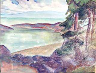 Watercolor by Beatrice Whitney Van Ness: Fir Trees by the Sea [North Haven, Maine], represented by Childs Gallery