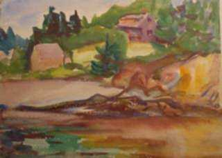 Watercolor by Beatrice Whitney Van Ness: Houses by the Water (recto) [North Haven, Maine] verso: Two , represented by Childs Gallery