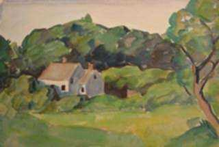 Watercolor by Beatrice Whitney Van Ness: Houses of North Haven, Maine, represented by Childs Gallery