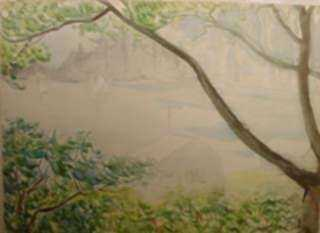 Watercolor by Beatrice Whitney Van Ness: Maine Coast Mists [North Haven], represented by Childs Gallery