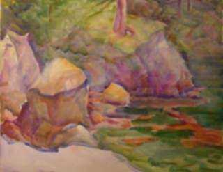 Watercolor by Beatrice Whitney Van Ness: Maine Landscape, represented by Childs Gallery