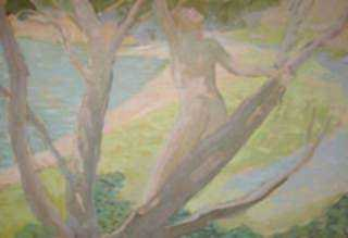 Painting by Beatrice Whitney Van Ness: Nude Woman on Tree, represented by Childs Gallery