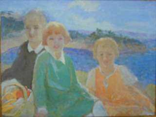 Painting by Beatrice Whitney Van Ness: Three Children, represented by Childs Gallery