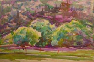 Watercolor by Beatrice Whitney Van Ness: Three Trees, represented by Childs Gallery