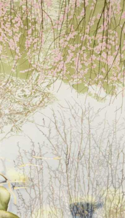 Watercolor by Ben Norris: Brooklyn Botanical Garden No. 8: Cherry Blossoms III, represented by Childs Gallery