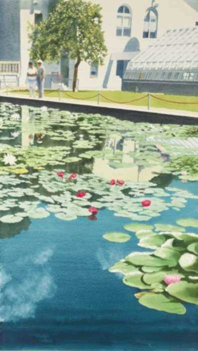 Watercolor by Ben Norris: Brooklyn Botanical Garden No. 10: Summer Water Lilies, represented by Childs Gallery