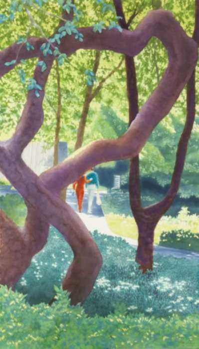Watercolor by Ben Norris: Brooklyn Botanical Garden No. 12: Shaded Walk II, represented by Childs Gallery