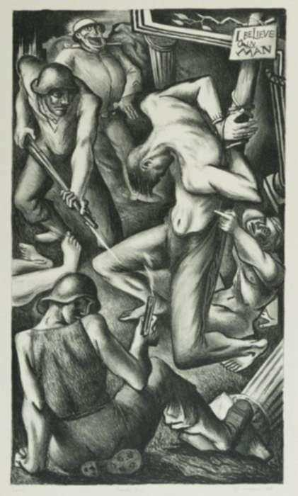 Print by Benton Spruance: Credo 3: I Believe in Man, represented by Childs Gallery