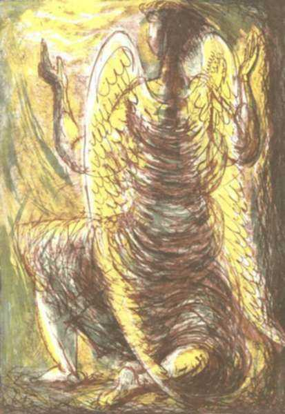 Print by Benton Spruance: Easter Angel, represented by Childs Gallery