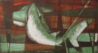 Print by Benton Spruance: Shark and Sonar, represented by Childs Gallery