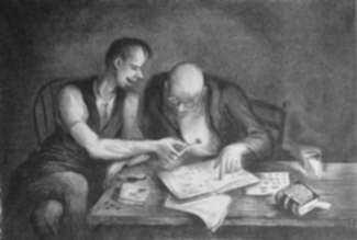 Print by Benton Spruance: The Philatelists, represented by Childs Gallery