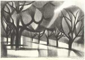 Print by Bernard Brussel-Smith: [Collonges la Rouge Forest], represented by Childs Gallery