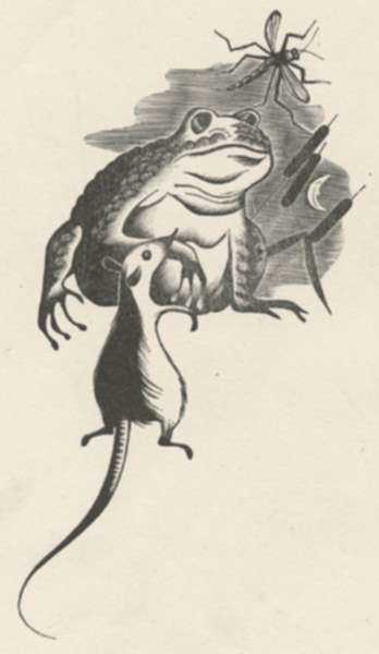 Print by Bernard Brussel-Smith: Froggie Went a-Courtin', represented by Childs Gallery