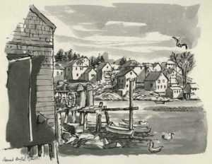 Drawing by Bernard Brussel-Smith: Greenhead Cove, Looking Towards Stonington Village [Maine], represented by Childs Gallery
