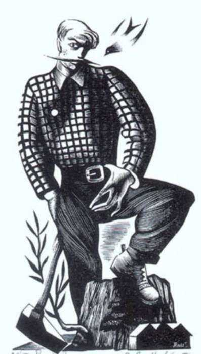 Print by Bernard Brussel-Smith: Paul Bunyan, represented by Childs Gallery