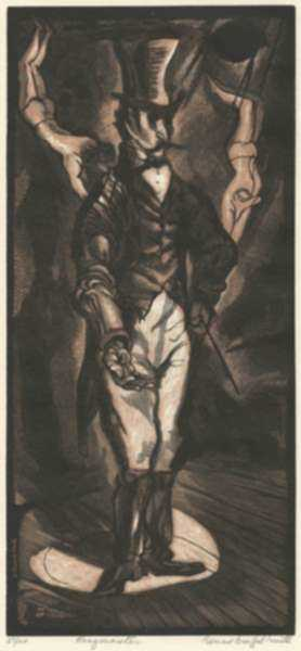 Print by Bernard Brussel-Smith: Ringmaster, represented by Childs Gallery