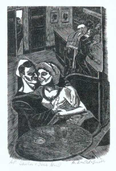 Print by Bernard Brussel-Smith: Sailor and His Girl, represented by Childs Gallery