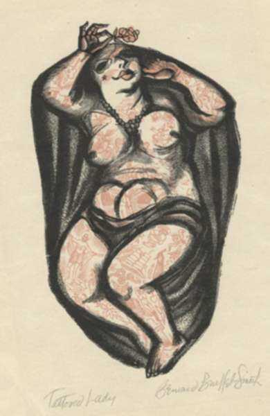 Print by Bernard Brussel-Smith: Tattooed Lady, represented by Childs Gallery