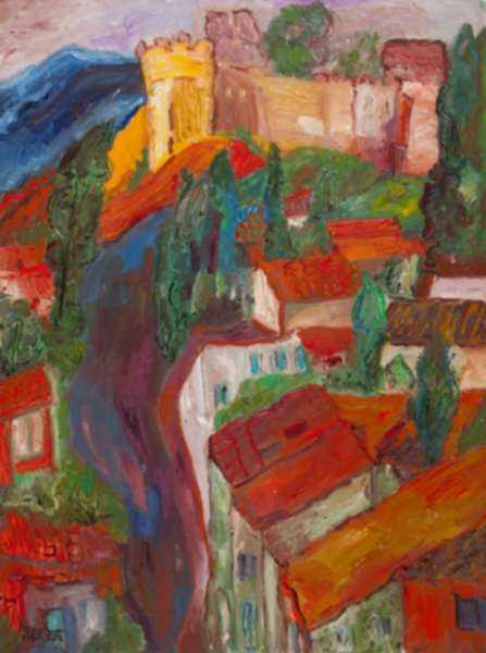 Painting by Betty Herbert: French Rooftops, represented by Childs Gallery