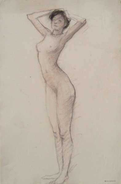 Drawing by Bryson Burroughs: [Nude with Raised Arms, Academic Study], represented by Childs Gallery
