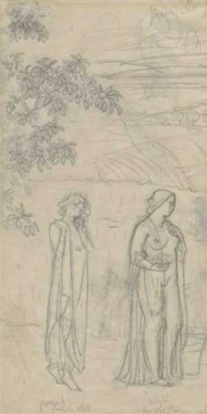 Drawing by Bryson Burroughs: Demeter and Persephone, represented by Childs Gallery