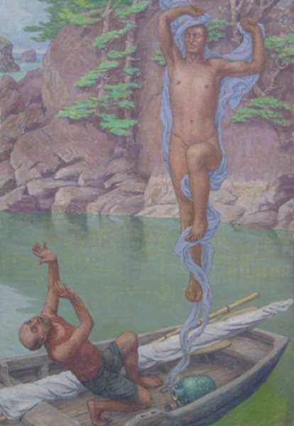 Painting by Bryson Burroughs: Fisherman and the Genie, represented by Childs Gallery