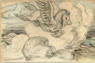 Drawing by Bryson Burroughs: Pegasus, represented by Childs Gallery
