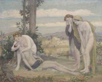 Painting by Bryson Burroughs: Venus and Adonis: The Death of Adonis, represented by Childs Gallery