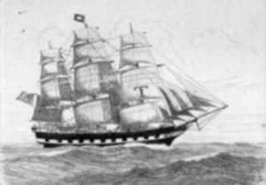 Print by C. J. A. Wilson: Anglo American Boston-Liverpool Packet Ship, represented by Childs Gallery