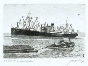 Print by C. J. A. Wilson: SS Robert Luckenbach, represented by Childs Gallery