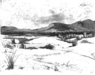 Print by Cadwallader Washburn: Santa Maria in Distance (Cuernavaca, Mexico), represented by Childs Gallery