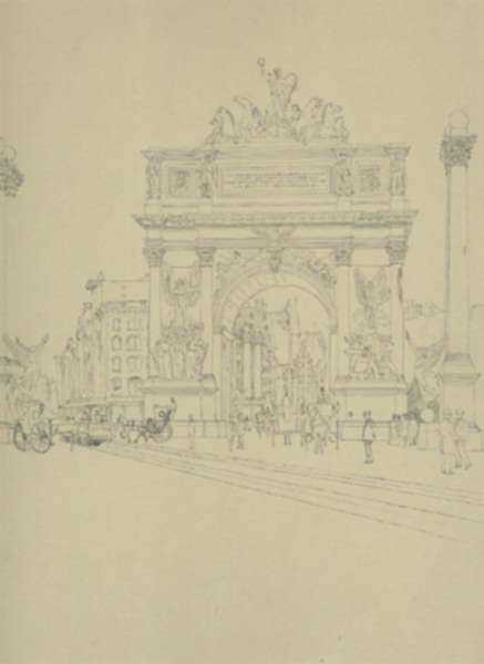 Drawing by Charles F. Mielatz: Dewey Arch, New York, represented by Childs Gallery