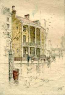 Print by Charles F. Mielatz: No. 7 State Street, New York, represented by Childs Gallery