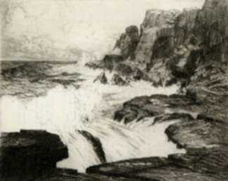Print by Charles Jac Young: Surf-Pounded Coast, represented by Childs Gallery