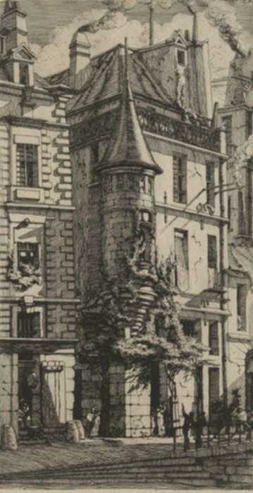 Print by Charles Meryon: Tourelle, rue de la Tixéranderie, represented by Childs Gallery