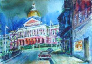 Watercolor by Charles P. Demetropoulos: [Massachusetts State House, Boston], represented by Childs Gallery