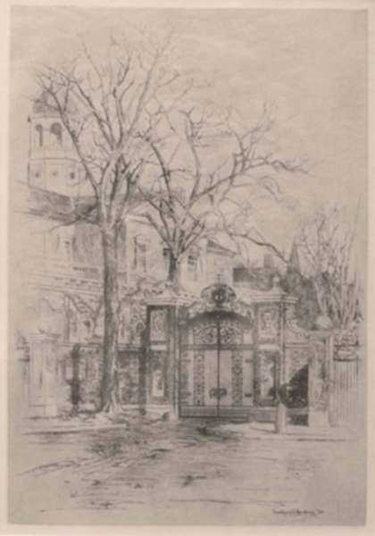 Print by Charles Woodbury: [Gates of Harvard], represented by Childs Gallery