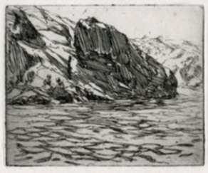 Print by Charles Woodbury: Narrow Cove I, represented by Childs Gallery