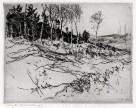 Print by Charles Woodbury: Seven Birches, represented by Childs Gallery