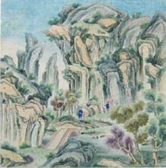Watercolor by Chinese School: Climbing, represented by Childs Gallery