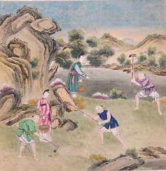 Watercolor by Chinese School: Digging, represented by Childs Gallery