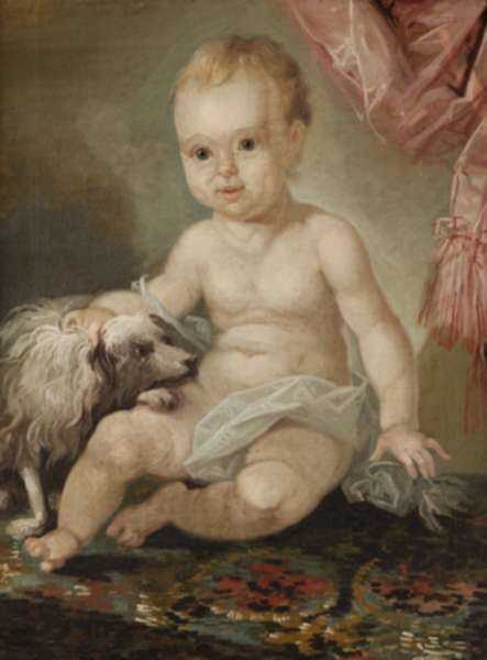 Painting by Christian Gullager: Portrait of a Baby with a Dog, represented by Childs Gallery