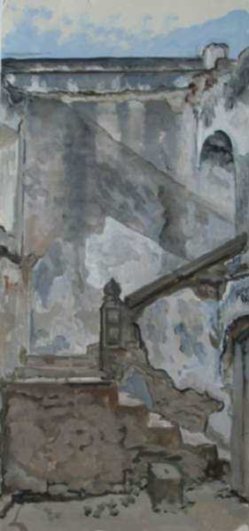 Painting by Constance Coleman Richardson: Study for Children on the Steps of La Recolección, Antigua G, represented by Childs Gallery