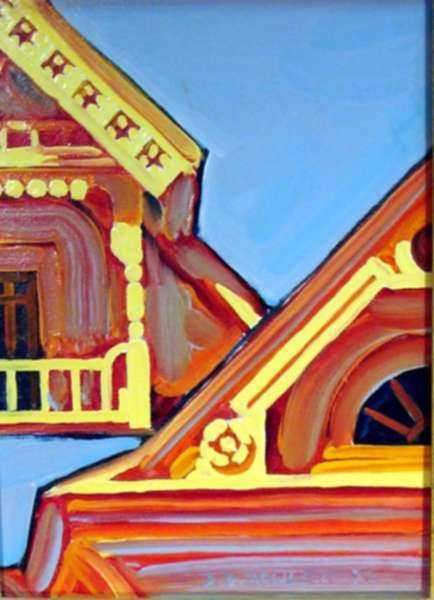 Painting by David D. Howlett: Roofangled, represented by Childs Gallery
