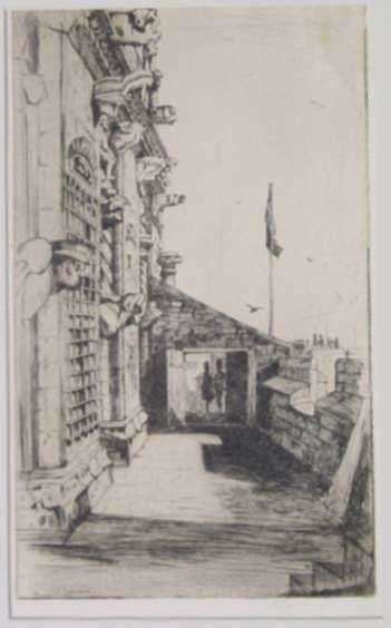 Print by David Young Cameron: The Gargoyles, Stirling Castle [Stirling, Scotland], represented by Childs Gallery