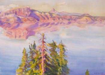 Watercolor by Dodge Macknight: [Crater Lake], represented by Childs Gallery