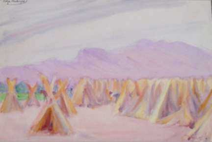 Watercolor by Dodge Macknight: Hemp Stacks Drying, Spain, represented by Childs Gallery