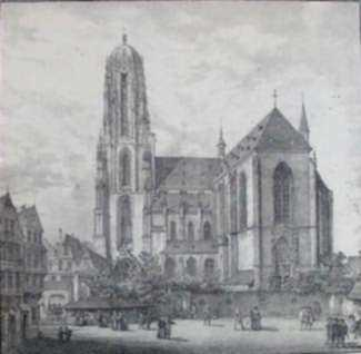 Print by Domenico Quaglio: Dom Zu Frankfurt Am Main (Cathedral at Frankfurt, Germany), represented by Childs Gallery