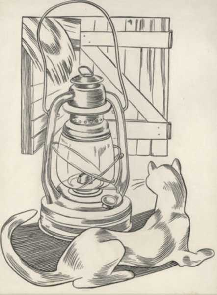 Drawing by Dudley Vaill Talcott: Cat and Lantern, represented by Childs Gallery